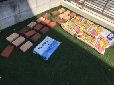 レンガ砂場DIYの材料